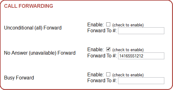 Screenshot of Call Forward settings