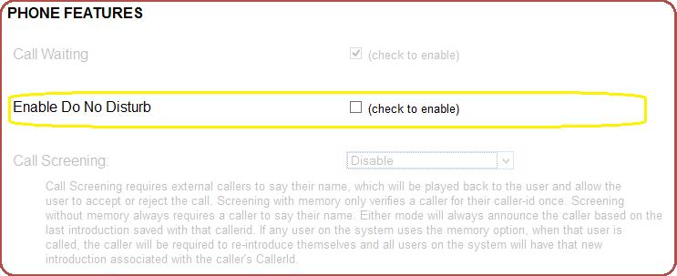 Screenshot of Do Not Disturb setting
